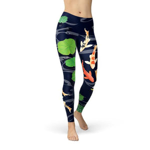 Womens Koi Fish in Pond Leggings