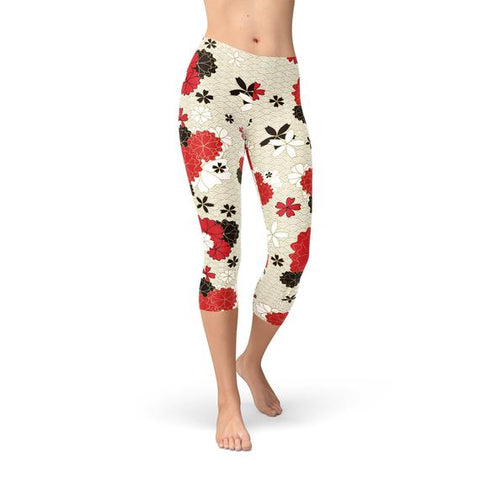Womens Japanese Cherry Blossom Capri Leggings