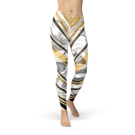 Womens White Marble w/ Black Gold Lines Leggings