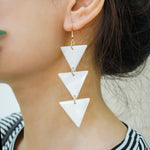 Elegant Triangle Long Earrings - Summer Vibe Earrings - Sea Shell Mental Gold-filled