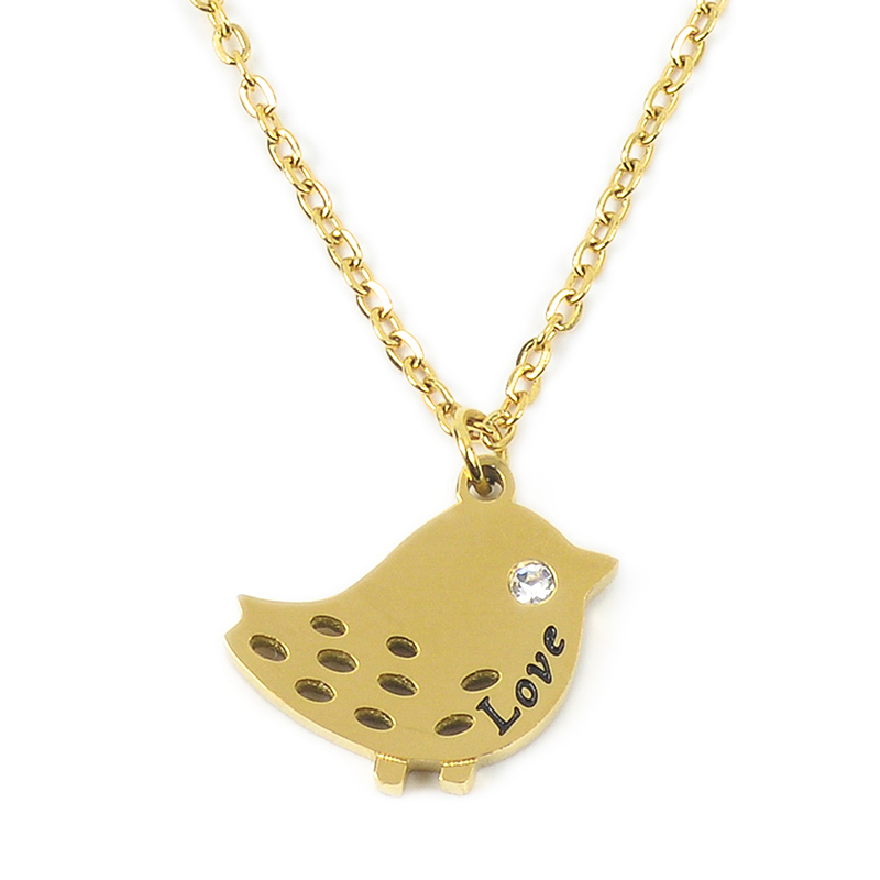 Bird with Love Necklace - Love Necklace for Valentine - Stainless Steel 18K Gold filled