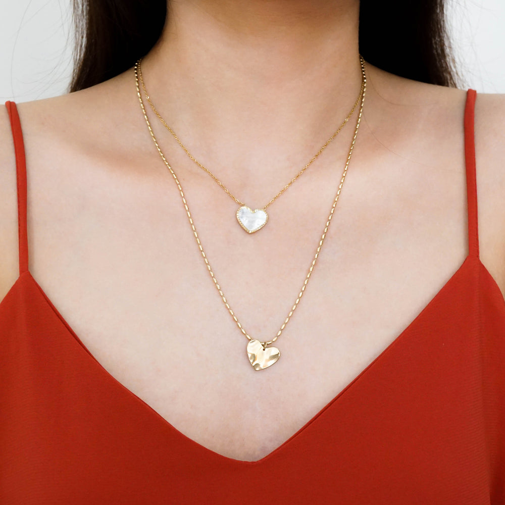Heart & Seashell Plate Necklace - Double Chain - Stainless Steel 18K Gold-filled- Valentine Gift