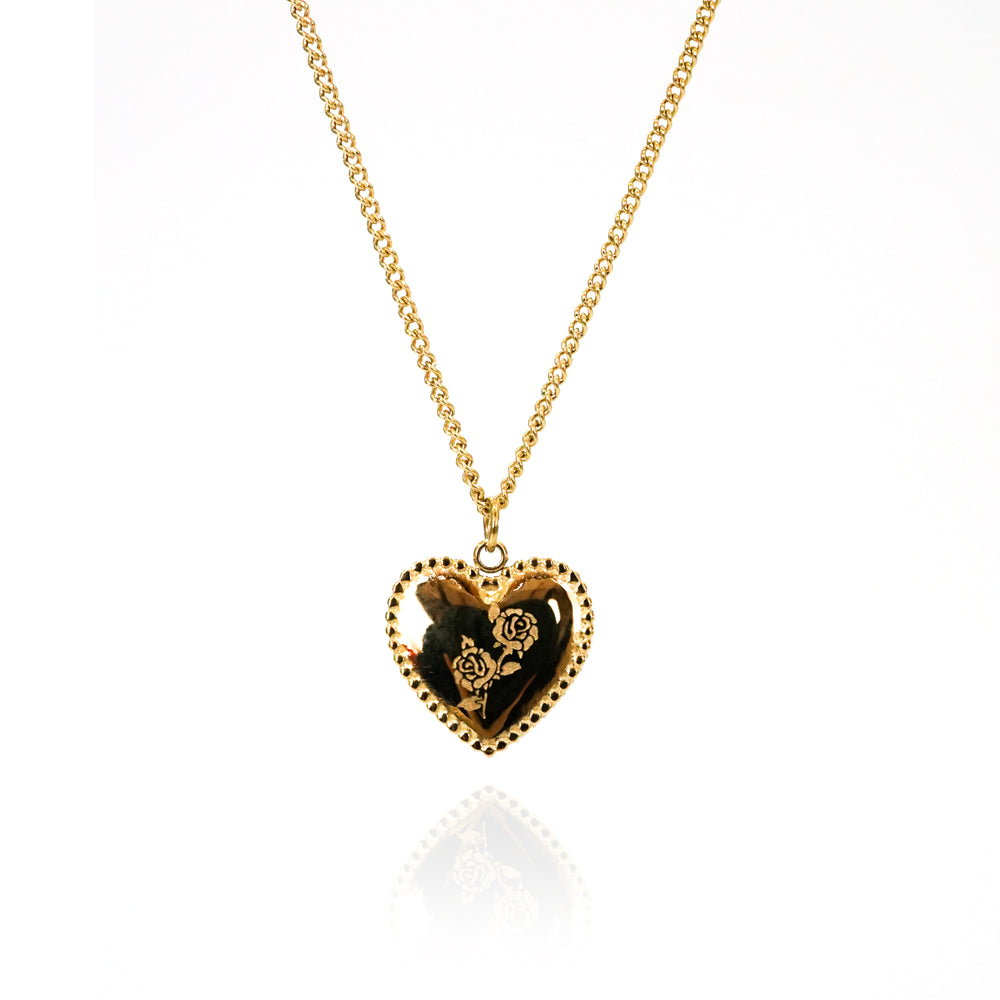Heart with Roses Necklace - Double Chain - Stainless Steel 18K Gold-filled- Gift for Valentine