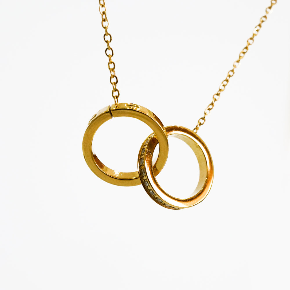 Double Rings Forever Love Necklace - Stainless Steel 18K Gold-filled - Love Necklace for Valentine