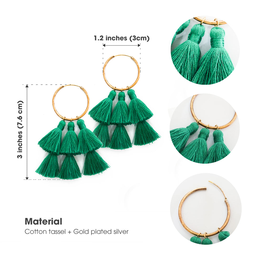 Forest Green 3 Double-Tassel Hoop Earrings