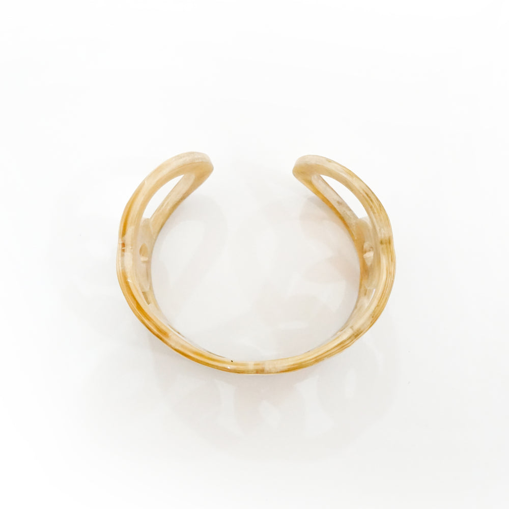 Natural Buffalo Horn Cuff - Engraved by Hand - Unique Jewelry for Women & Girls