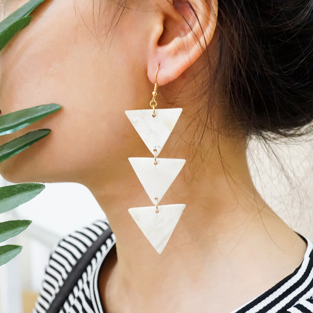 Classic Triple Triangle Earrings - Parisian Style Earrings -  Buffalo Horn Mental Gold-filled