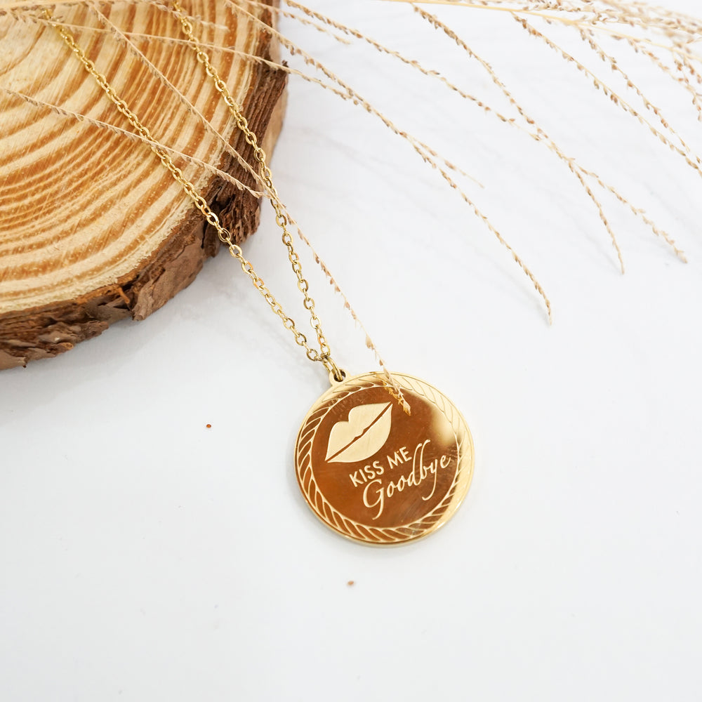 Kiss Me Goodbye Necklace - Gold-filled - Love Necklace for Valentine