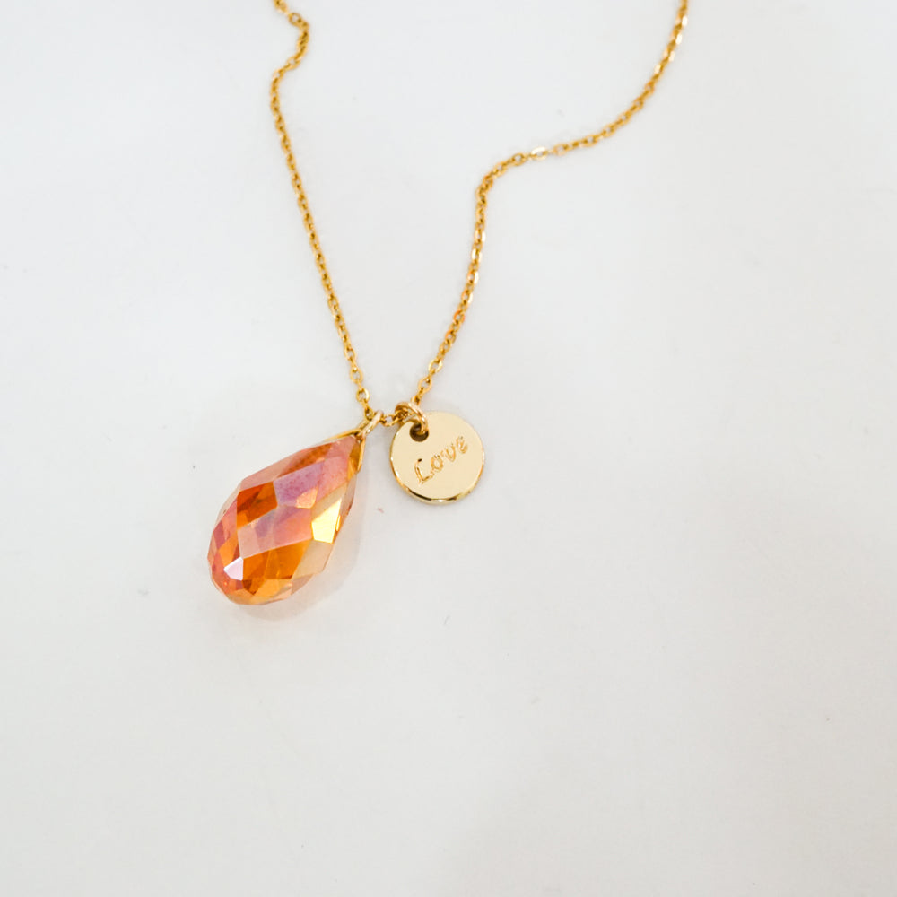 Pink Birthstone & Love Coin Necklace - Gold-filled - Necklace for October Birthday (Limited Products)