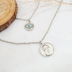 Evil Eye & Saint Maria Necklace - Stainless Steel Double Chain (Limited Products)