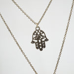 Evil Eye & Hamsa Hand Necklace - Stainless Steel Double Chain (Limited Products)