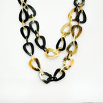 Horn Necklace - Unique Design with Double Chain in a Half - Handmade from Vietnam