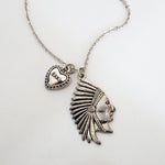 American Indian Necklace - Stainless Steel Charm - Braided Black Leather Cord (Limited Products)