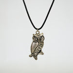 Owl Perched on a Tree Branch Necklace - Stainless Steel Charm - Braided Black Leather Cord (Limited Products)