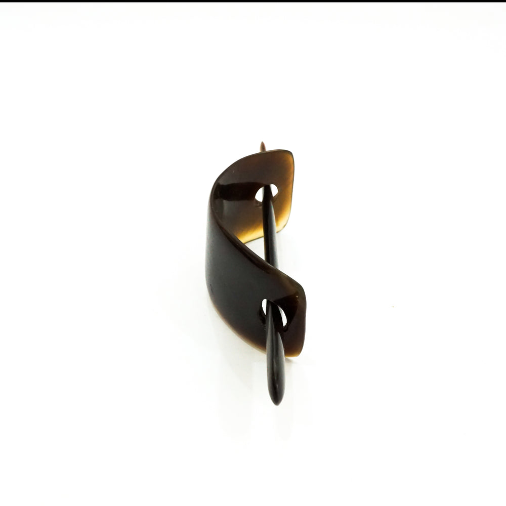 Natural Buffalo Horn Hair Barrette in Dark Brown - Assembled by Vietnamese Artisans