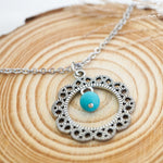 Flower with Turquoise Bead Necklace - Stainless Steel (Limited Products)