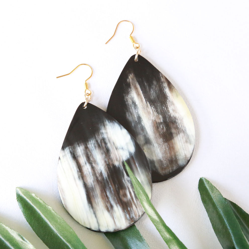 Black Waterdrop Earrings - Vintage American Style Earrings - Buffalo Horn Mental Gold-filled