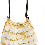 Trendy Handbag with Buffalo Horn Pattens in White - Metal Handle - Made in Vietnam