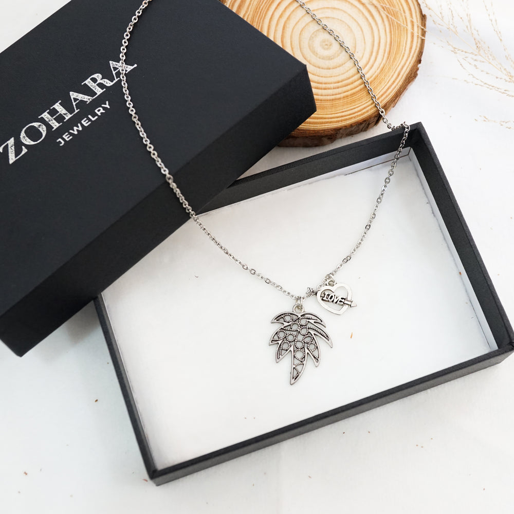 Leaf and Arrow Heart Necklace - Stainless Steel - Gift for Women (Limited Products)