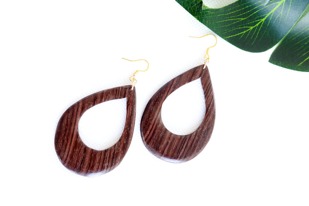 Stylish Brown Waterdrop Earrings - Classic Preppy Style Earrings -  Tracwood Metal Gold-filled