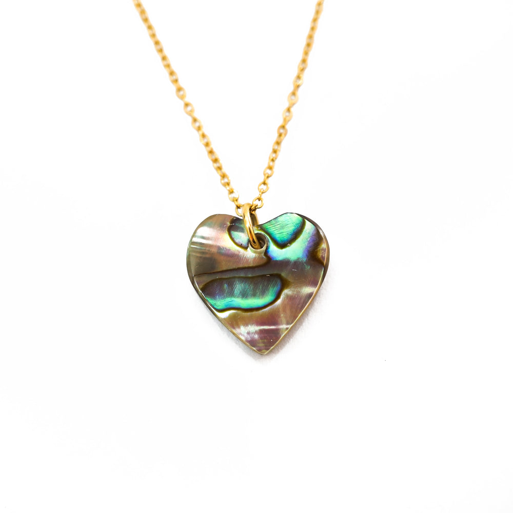 Heart shaped abalone pendant necklace - Dainty Everyday Necklace - Gift for Women