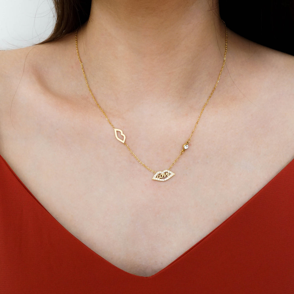 LOVE Kiss Necklace - Gift for Valentine - Stainless Steel 18K Gold-filled