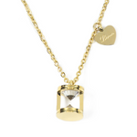 Hourglass with Love Necklace - Gift for Valentine - Stainless Steel 18K Gold Filled