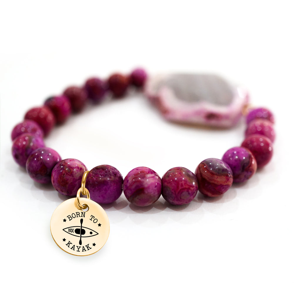 Fuchsia Agate Beaded Bracelet - Personalized Charm Bracelet - Pefect Gift for Women