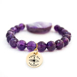 Agate Beaded Bracelet in Purple - Unique Jewelry for Women & Girls - Handmade Style