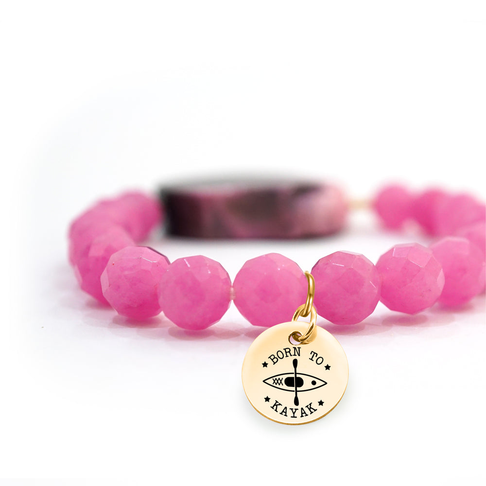 Jade Beaded Bracelet in Pink - Perfect for any Occasion - Handmade Style