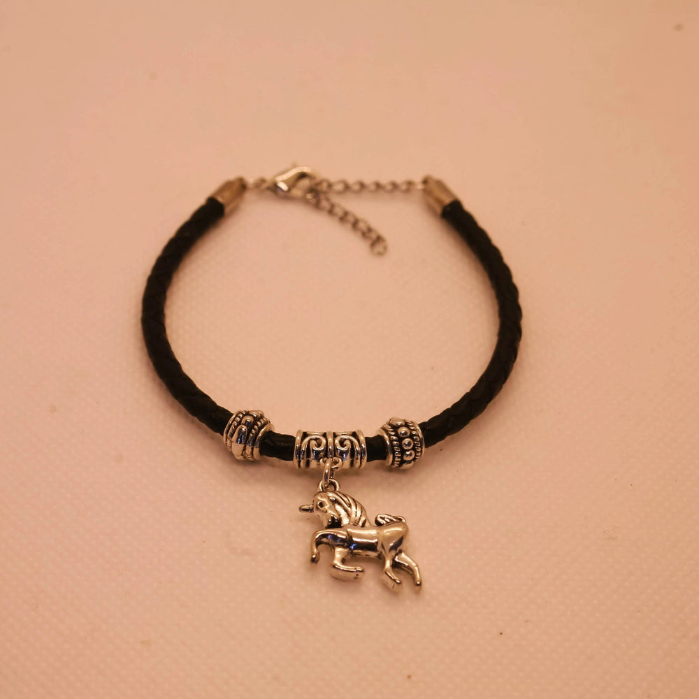 Unicorn Bracelet - Stainless Steel Charm - Braided Black Leather Cord (Limited Products)