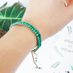 Green Stones Beaded Wrap Bracelet