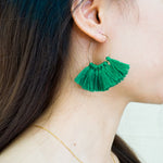 Forest Green 8 Single-Tassel Hoop Earrings