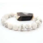 Black Agate Beaded Bracelet in Natural Color - Handmade Jewelry - Unique Gifts for Her