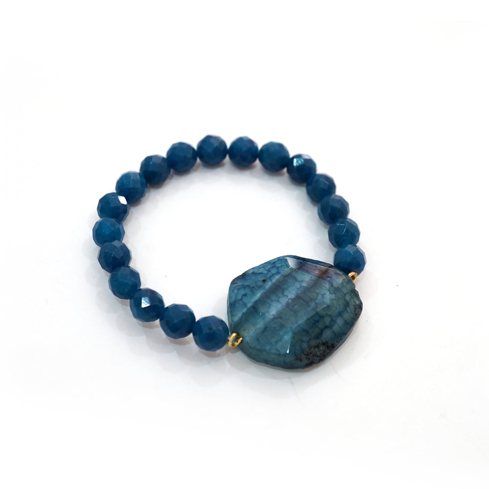 Agate Bead Stretch Bracelet in Blue - Unique Fashion Jewelry - Special Gift Ideas for Women