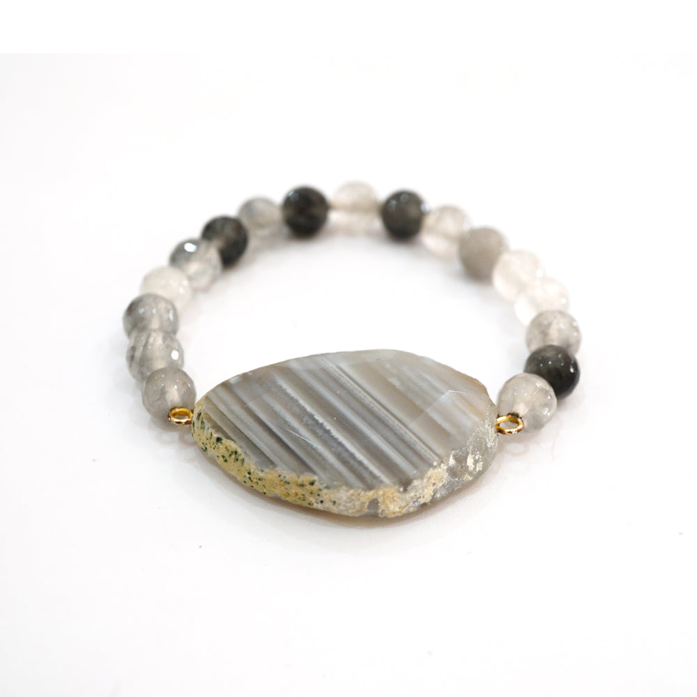 Grey Agate Beaded Bracelet - Personalized Charm Bracelet- Hot Trending Jewelry for Women