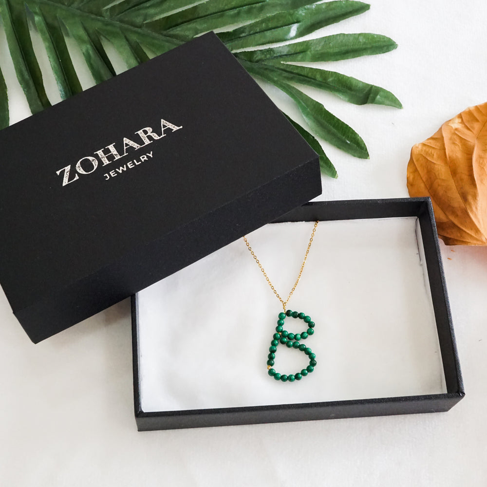 Initial Letter Malachite Bead Pendant Necklace