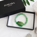 Green Jade Beaded Bracelet - Personalized Charm Bracelet - A Pefect Gift for Women