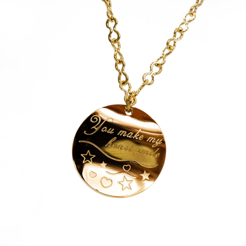 You Make My Heart Smile Necklace - Gift for Valentine - Stainless Steel 18K Gold-filled
