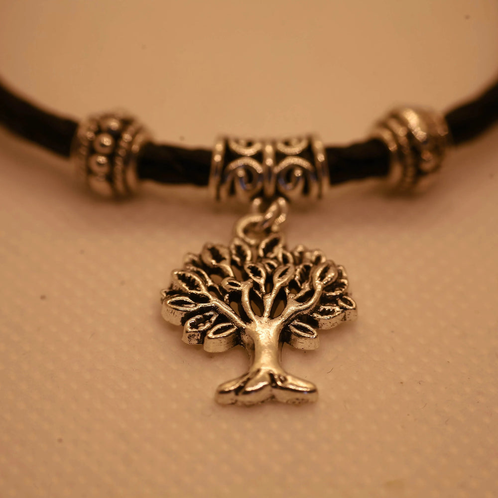 Tree of Life Bracelet - Stainless Steel Charm - Braided Black Leather Cord (Limited Products)