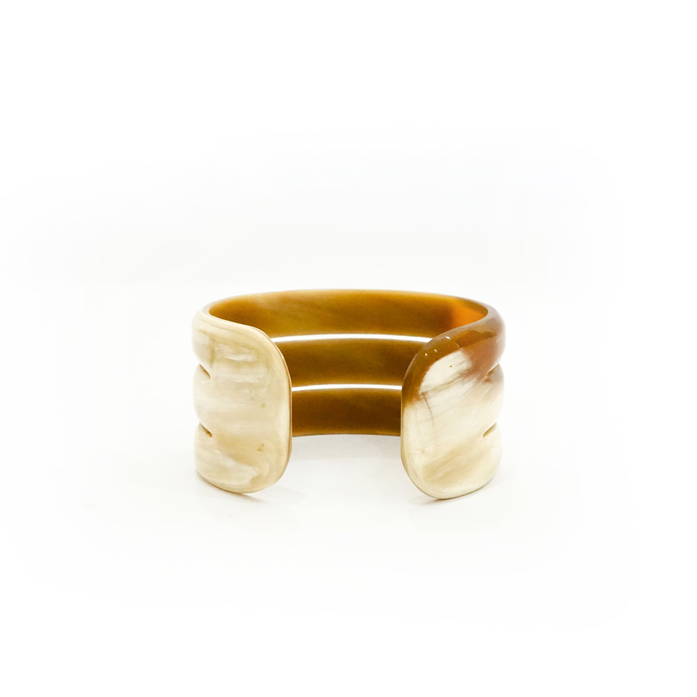 Stacking Natural Buffalo Horn Cuff Bracelet - Handcrafted Jewelry for Women