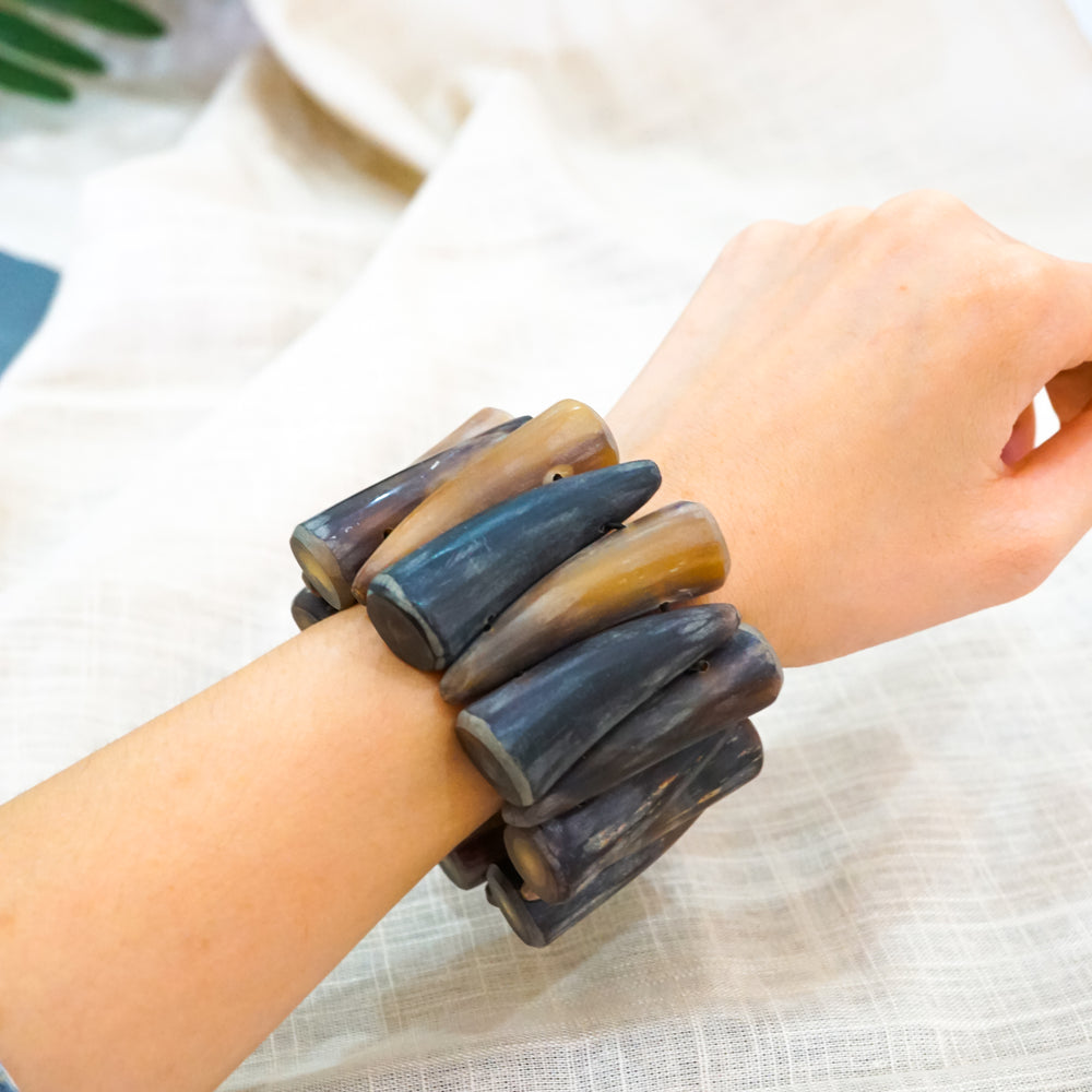 Buffalo Horn Bracelet in Natural Color - Small Horns Connected by Cords - Unique Jewelry