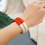 Stacking Buffalo Horn Bracelet - Red Lacquer as Highlight - Handicraft Jewelry