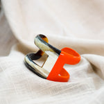 C Shaped Open Horn Cuff Bracelet - Lacquer Unique Jewelry in Two Colors with Orange as Highlight