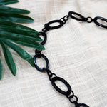 Natural Horn Chain Necklace - Big and Small Black Links Alternating - Accessories for Women