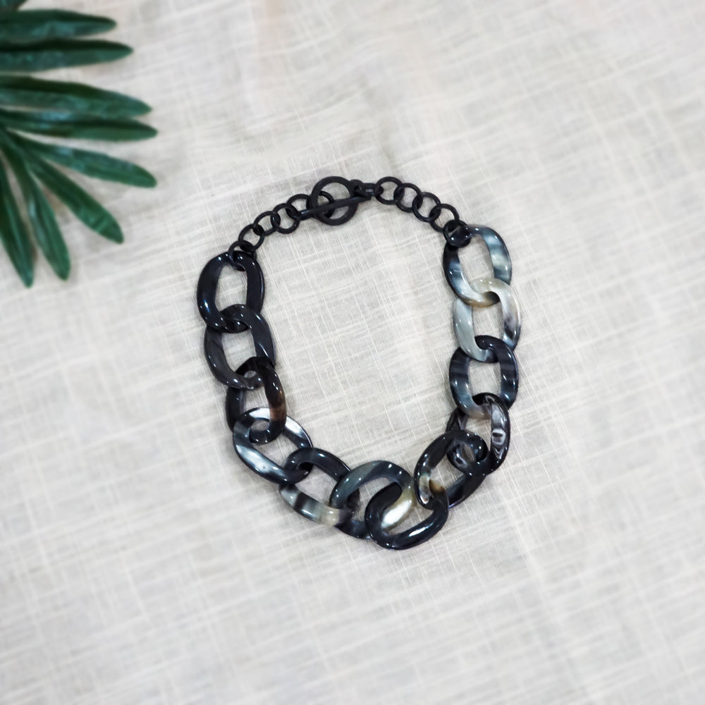 Buffalo Horn Chain Necklace in Dark Color - Different Size Links - Short Unique Jewelry