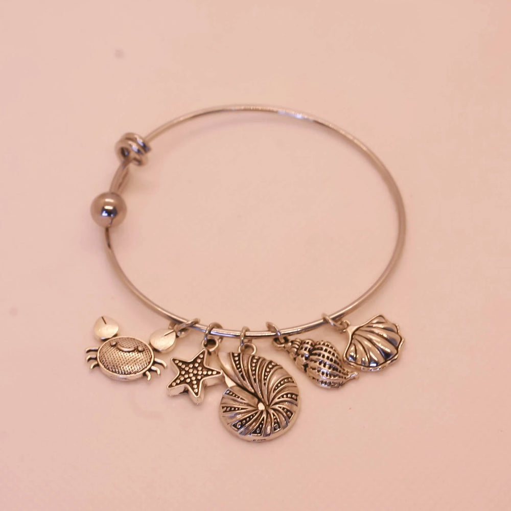 Seashell, Starfish, Conch, Crab Bracelet - Stainless Steel - Bracelet For Beach Lover (Limited Products)