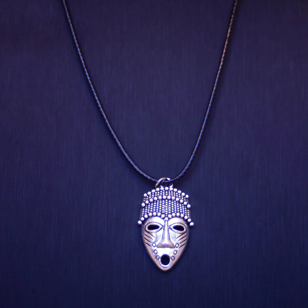 Ethnic African Masks Necklace - Stainless Steel Charm - Braided Black Leather Cord (Limited Products)