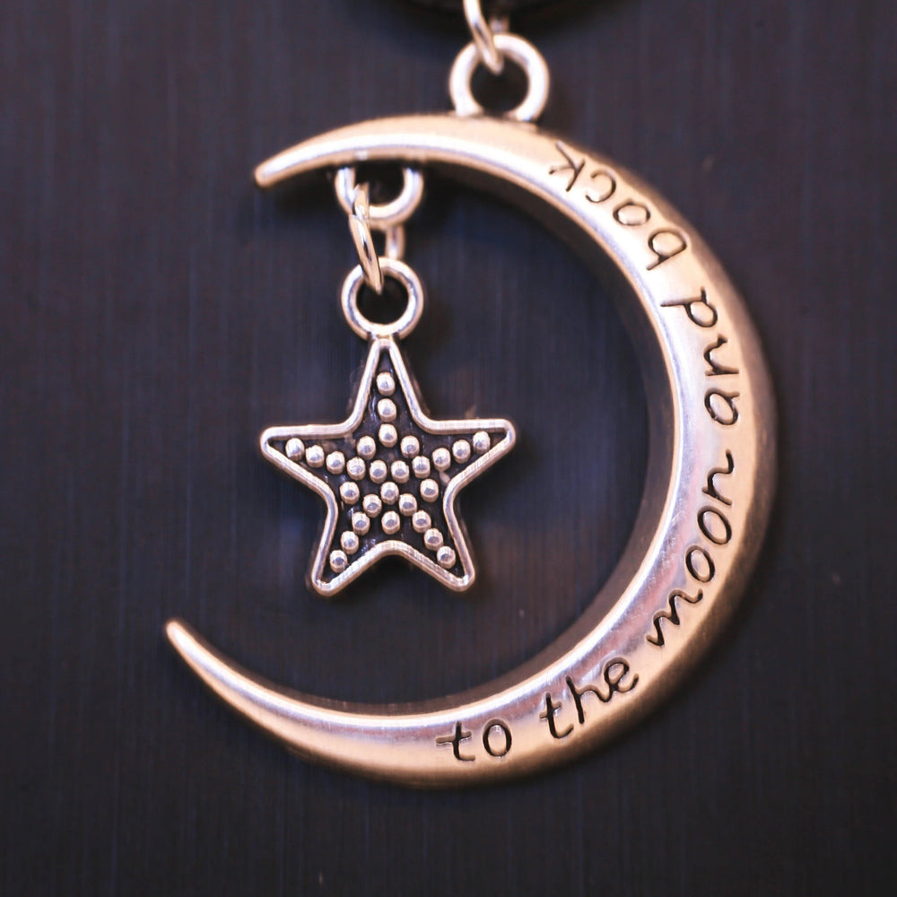 Star & Half Moon Necklace - Stainless Steel Charm - Braided Black Leather Cord (Limited Products)