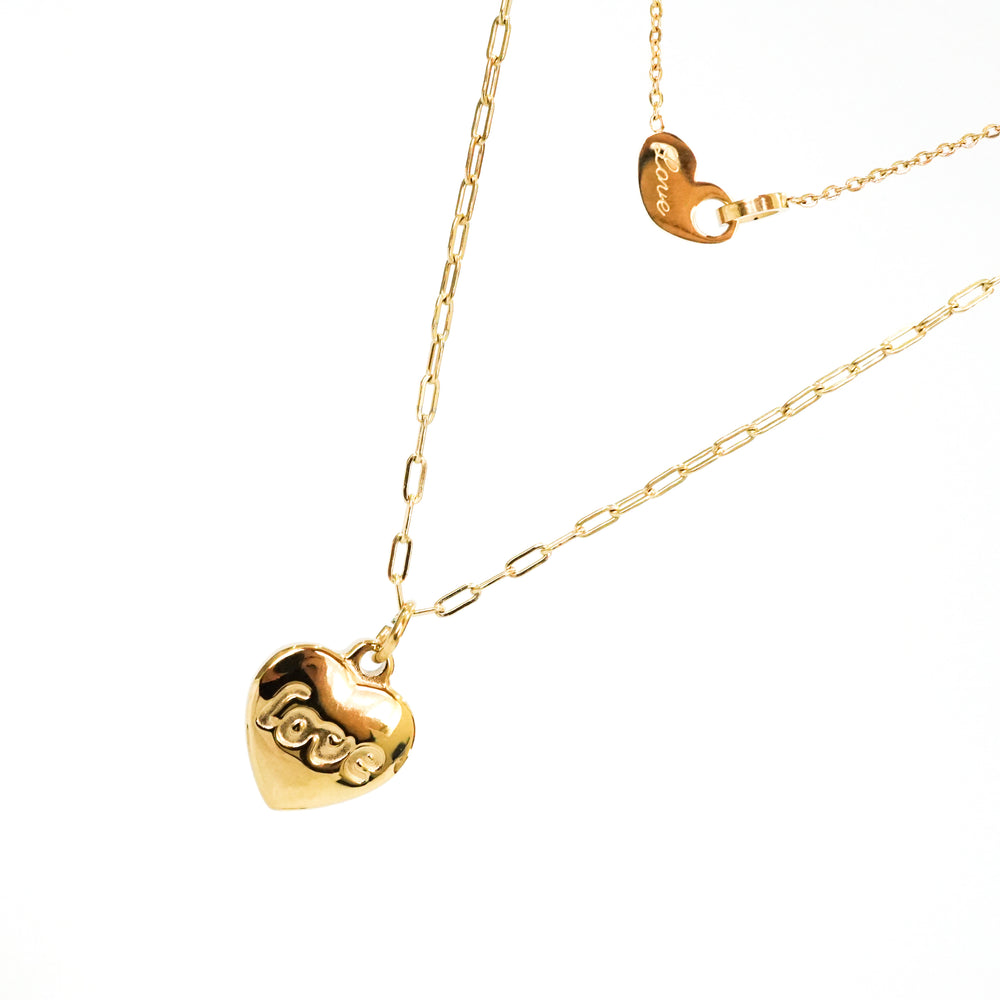 Heart Love Necklace - Double Chain - Stainless Steel 18K Gold-filled - Gift for Valentine